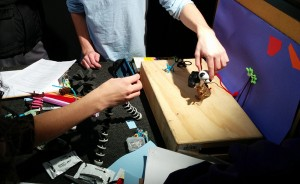 Students recording a stop motion in class