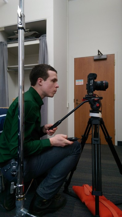 Nate photographs with shutter release