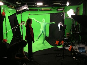 To check that the motion capture rig was calibrated before each take, Nate had to wave his limbs around.