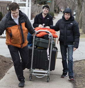 [Left to Right] Nate, Josh, and Jordan bring equipment back after the Talmud MOOC wraps filming.