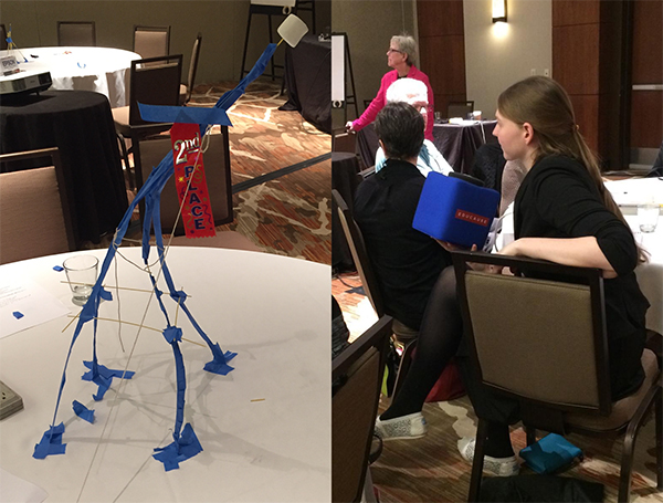 [Left] My team's spaghetti-tape-string marshmallow support tower. [Right] Laura speaks into a toss-and-catch foam microphone box, debating the meaning of a team.