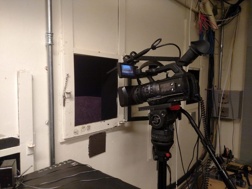 Wide angle shot of the camera in the booth.